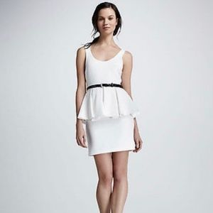 Alice + Olivia White and Black Peplum Dress